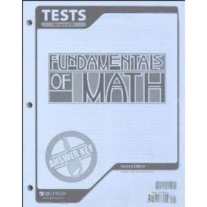 Fundamentals of Math Tests Answer Key BJU Press Books