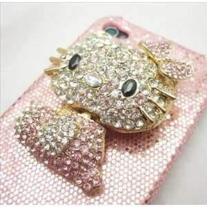 Bling 3d Pink Hello Kitty Case Cover for Iphone 4