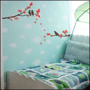 MAPLE TREE & BIRD ART DECO WALL PAPER STICKER EC 01