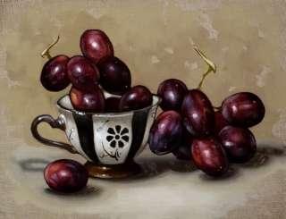 Original Oil Painting Still Life Art Teacup of Grapes 6x8