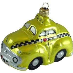 HEY TAXI Cab New York Retro 1950s style Glass Ornament