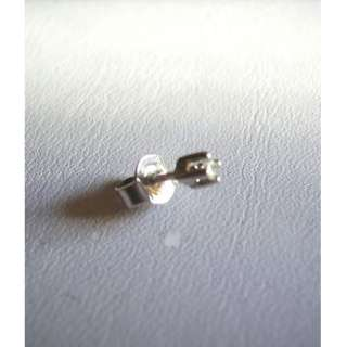 9ct White Gold Solitaire Diamond Single Ear Stud Earring,New