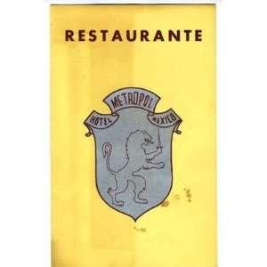 Hotel Metropol Ristorante Menu Mexico City 1960s