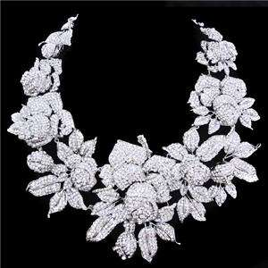 Wedding Rose Necklace Earring Set Austrian Rhinestone Crystal