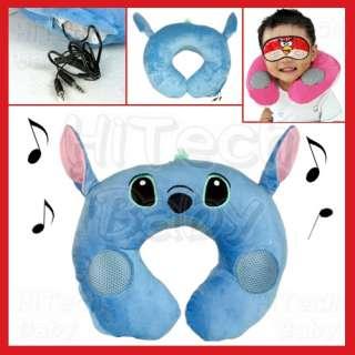 DISNEY Lilo & Stitch Music Neck Pillow (Travel Twist Pillow w/ Stereo