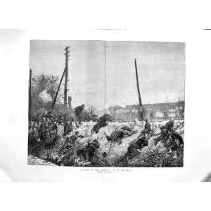 1874 Fight Railway Tracks Soldiers Battle War Fine Art