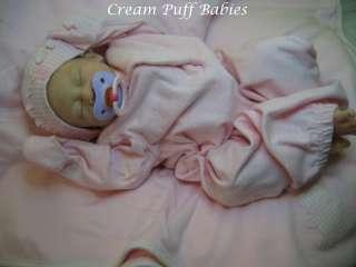 REBORN NEWBORN BABY GIRL DOLL ANGIE BY JACQUELINE GWIN & CREAM PUFF