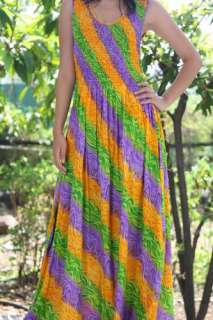 Purple Yellow Green Boho hippie Maxi Long Dress S,M,L
