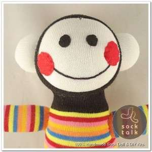 Handmade Baby Face Striped Sock Monkey Stuffed Animals Doll Baby Toy