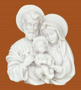 Holy Family Mary Baby Jesus Christ Joseph Greek Marble Sculpture Bust