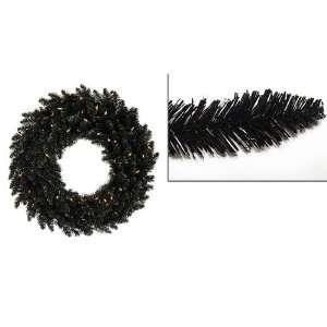 5 Pre Lit Black Ashley Spruce Christmas Wreath   Clear