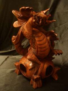 10 Suar Wood Hand Carved Dragon Sculpture on Top of Globe   Power