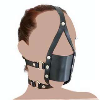 Faux Leather Harness Head Gag Full Mouth Mask+Red Ball