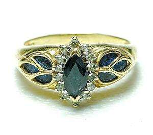 yellow Gold Sapphire & Diamond ladies Cocktail ring band 1970s