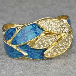 Leaf 18k Gold Plated GP Swarovski Crystal Wrist Bangle Bracelet br2338