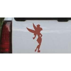 Brown 36in X 19.8in    Sillohette Tinkerbell Cartoons Car Window Wall