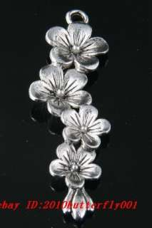 Free Ship 3pcs tibetan silver flower charms pendant57mm