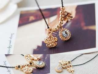 Swarovski Crystal Lucky Clover Rose Amulet Charm Bead Necklace
