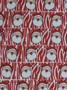 YARDS CHRISTMAS / SANTA CLAUSE ON RED WHITE ZEBRA GROSGRAIN RIBBON 7