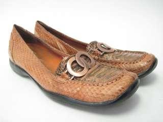BELLINI Brown Snake Skin Loafers Shoes Slides Size 8