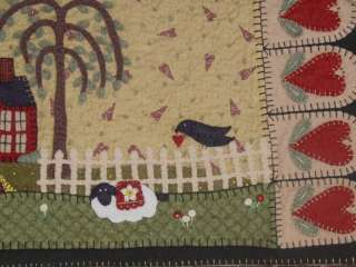 Primitive House & Sheep Penny Rug Table Runner PATTERN