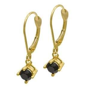 14k Yellow Gold Black Diamond Earrings (3/8 cttw) Jewelry
