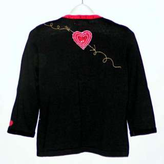 JACK B. QUICK BEREK Valentines Day Hearts Beaded Sequined Cardigan