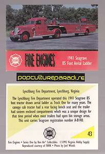 SEAGRAVE 85 AERIAL LADDER FIRE TRUCK ENGINE CARD Lynchburg, Virginia