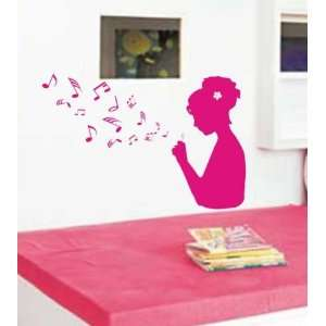 Girl Blowing Music Notes Decal Sticker Wall Art Bubbles Kid Nursery