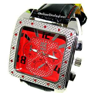 ICED OUT MENS RED/SILVER/BLACK ICE NATION HIP HOP BLING LEATHER WATCH