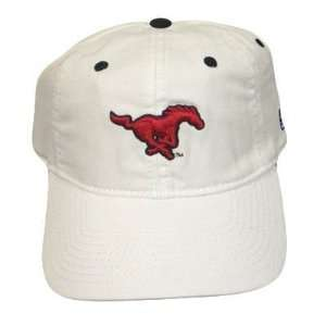 NCAA SOUTHERN METHODIST MUSTANG FITTED CAP HAT WHITE LG