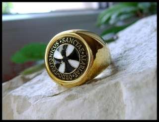 AJS © 24k GOLD TEUTONIC KNIGHTS RING GERMANY IRON BLACK CROSS GERMAN