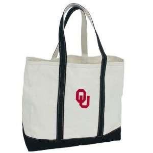 Luggage Oklahoma Sooners 24 oz. Cotton Canvas Boat Tote w/Black Straps