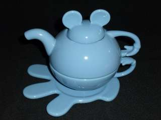 Disney MICKEY MOUSE Ears 4 Pc Teapot Set Light Blue NEW in Box FREE US