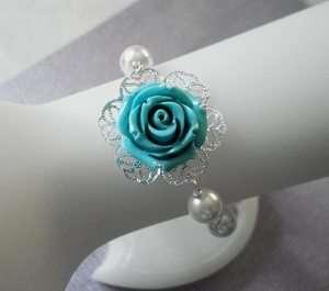 Teal Blue Coral Carved Rose flower Pearl Silver Bracelet