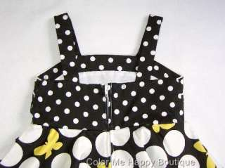 New Girls Rare Editions sz 5 Black Yellow Butterfly Dot Dress Easter