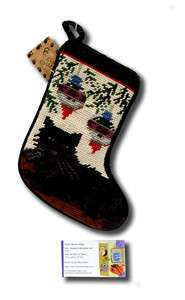 NEW NEEDLEPOINT BLACK KITTY CAT XMAS CHRISTMAS STOCKING SOCK 8 1/4 H