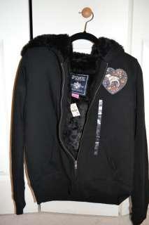 Pink Bling Fashion Show 2011 Faux Fur Lined Black Hoodie LTD