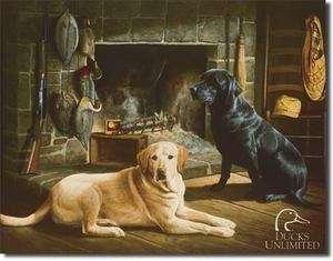 Cabin Ducks Unlimited Gold Black Lab Labrador Retriever Dog Tin Metal