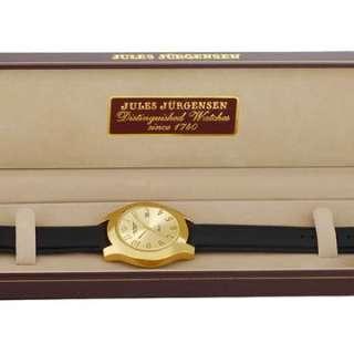 Jules Jurgensen Mens Gold Tone Black Strap Watch