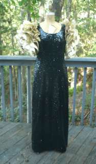 full length black sequin dress ruffle gold sleeves cross dresser drag