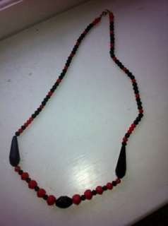 vintage art deco Czech cut crystals black and red necklace