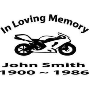 IN LOVING MEMORY MOTORCYCLE CUSTOM STICKER DECAL: Home