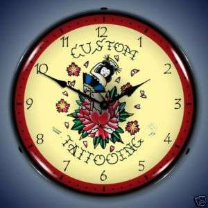 NEW TATTOO ROSE TAT ART FLASH BACKLIT LIGHTED CLOCK