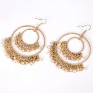 Fashion antique gold color round circle white pearl tassels dangle