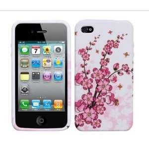 Cherry Blossom Tree Branch Pink Flowers on White candy skin jelly case