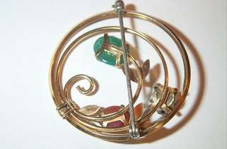Vintage Krementz Flower Pin Brooch Rhinestone Jade