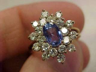 ESTATE Ceylon Blue Sapphire & Diamond Ring 18k Gold size 6 1/2 Make