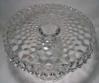 Vintage~FOSTORIA AMERICAN Glass~10 Round PEDESTAL CAKE STAND Salver
