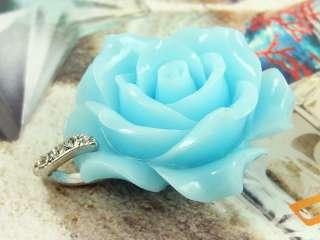 Premier Design Rose Baby Blue Lucite Necklace Pendant
